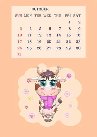 Calendar 2021. Cute cow for every month. Cute bull and cow for October. Ilustração