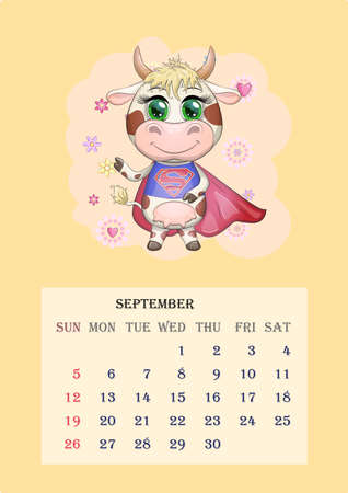 Calendar 2021. Cute cow for every month. Cute bull and cow for September.