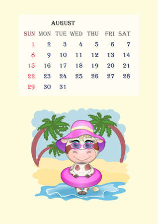 Calendar 2021. Cute cow for every month. Cute bull and cow for August.