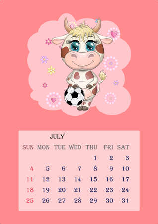 Calendar 2021. Cute cow for every month. Cute bull and cow for July
