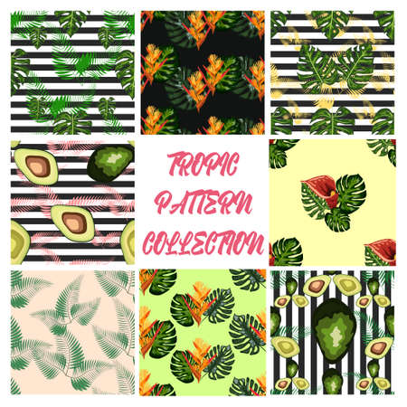 Set of 8 seamless pattern of tropical flowers green leaves of palm trees and flowers bird of paradis, hibiscus, avocado, monstera Banco de Imagens - 155153603
