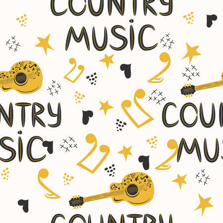 hand-drawn musical seamless pattern with the inscription country music and country guitar, stars, notes, symbols, objects and elements Banco de Imagens - 155153604
