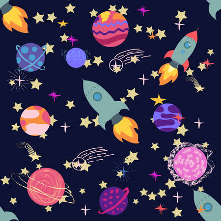 Seamless space pattern. Planets, rockets and stars. Cartoon spaceship icons. Hand drawn Banco de Imagens - 155153612