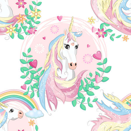 pattern with cute unicorns, clouds, rainbow and stars. Magic background with little unicorns. Banco de Imagens - 155153614