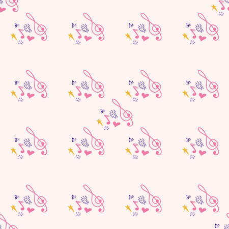Cartoon cute hand drawn Musical seamless pattern. Colorful detailed. Bright colors backdrop with music symbols and items Banco de Imagens - 155153616
