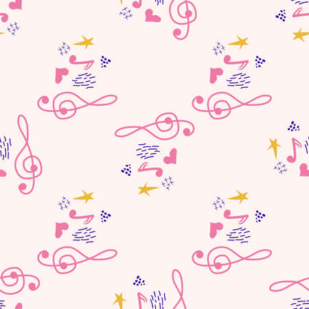 Pink, blue pastel texture with musical notes and a treble clef. Template for festival flyers Banco de Imagens - 155153617
