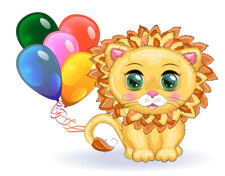 Cute cartoon lion with big eyes in a children's bright style with balloons, greeting card Banco de Imagens - 155153618
