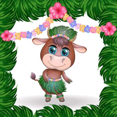 Cute cartoon bull, cow with beautiful eyes, character of a Hawaiian hula dancer among leaves, flowers. Chinese New Year Cute Bull Mascot Banco de Imagens - 155153628