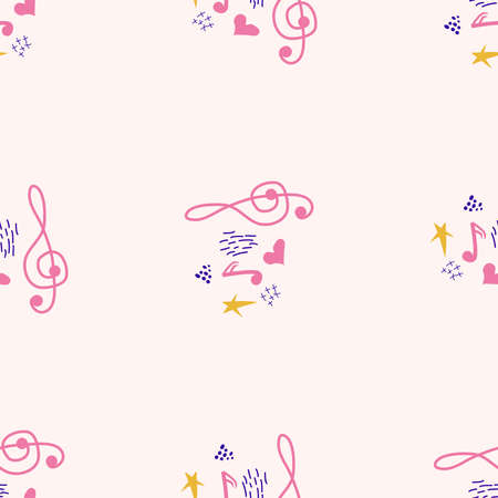 Treble clef, notes, heart, stars, abstract elements seamless pattern in pink, blue pastel colors. Music backdrop.