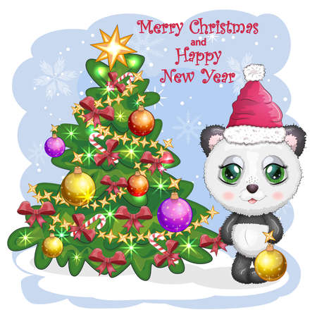 Cute cartoon panda bear with big eyes in a red Santa Claus hat with a ball near the Christmas tree. Greeting card, New Year