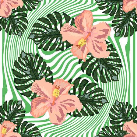 hand draw tropical flower, blossom cluster seamless pattern background, strip distortion, hibiscus flower 向量圖像