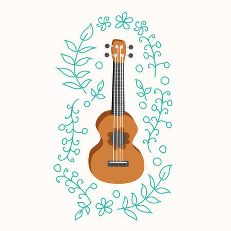 Ukulele and tropical leafs. four-string guitar hand drawn illustration