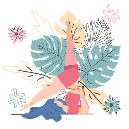 Woman in pose on the background of monstera leaves. Yoga, concept of meditation, health benefits for the body, control of the mind and emotions. Illustration