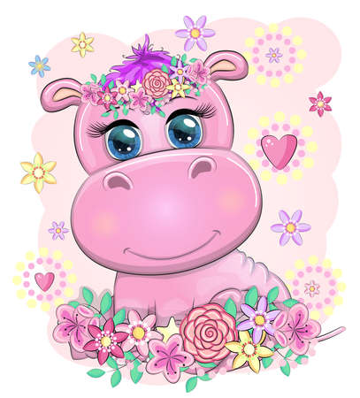 Cute hippo cartoon with beautiful eyes among flowers, hearts. print t-shirts, baby clothes fashion design, baby shower invitation card. Vetores