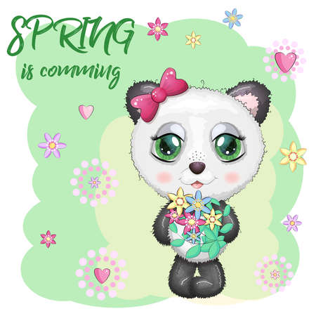 Cute panda with big eyes and a bouquet of flowers, Spring is coming.