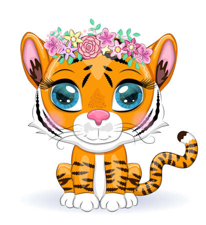 Cute cartoon tiger with beautiful eyes, bright, orange for greeting cards.