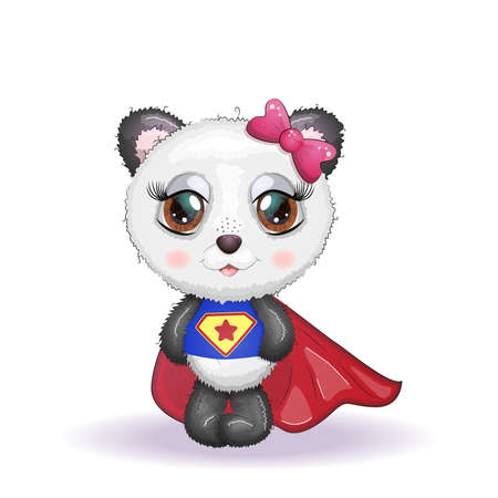 Cute little panda with big eyes in a cloak by a super hero, greeting card illustration, cute animal