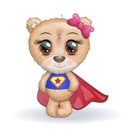 Cute little bear with big eyes in a cloak by a super hero, greeting card illustration Ilustração