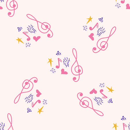 Treble clef, notes, heart, stars, abstract elements seamless pattern in pink, blue pastel colors. Music backdrop