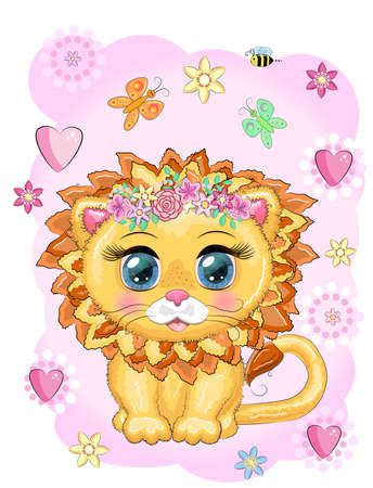 Cute cartoon lion with big eyes in a childrens bright style. Ilustração