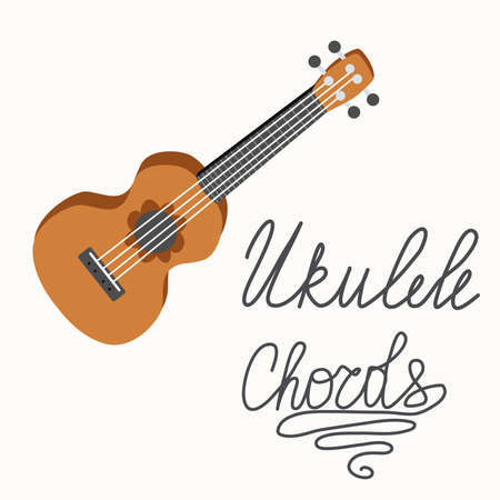 Cartoon ukulele with lettering text for summer, music poster template design.