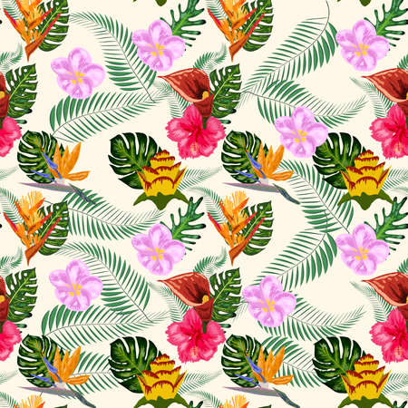 Seamless tropical pattern with palm, monstera leaves and many flowers of hibiscus, sterlitz, tropical Ilustração