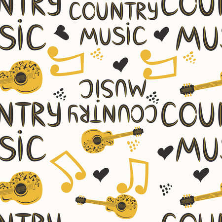 hand-drawn musical seamless pattern with the inscription country music and country guitar, stars, notes, symbols