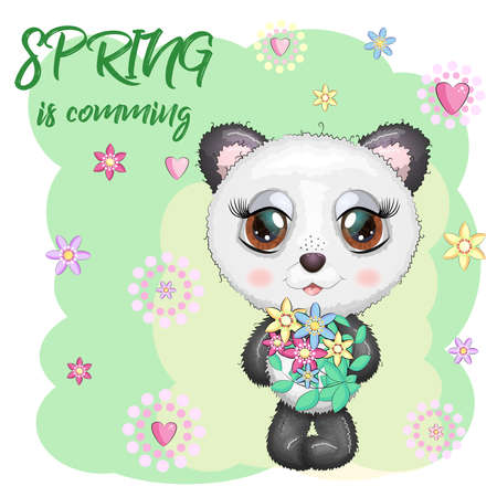 Cute panda with big eyes and a bouquet of flowers, Spring is coming. Ilustração