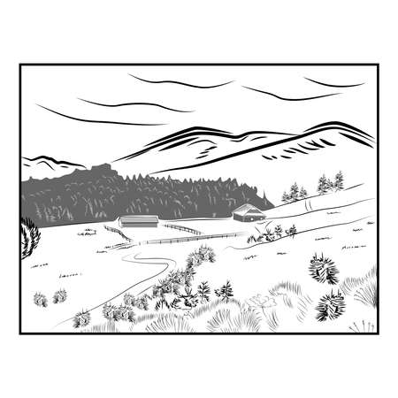 Hand drawn landscape with road to house and pine forest. Sketch line design.