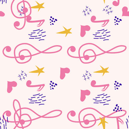 Pink, blue pastel texture with musical notes and a treble clef. Template for festival flyers