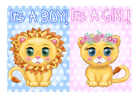 baby shower invitation for boy and girl. Blue and pink chevron background with Cute cartoon lion and lioness with big eyes in a bright style of children.