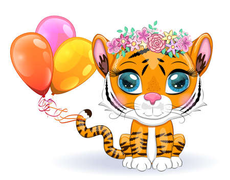 Cute cartoon tiger with beautiful eyes, bright, orange with balloons, greeting card