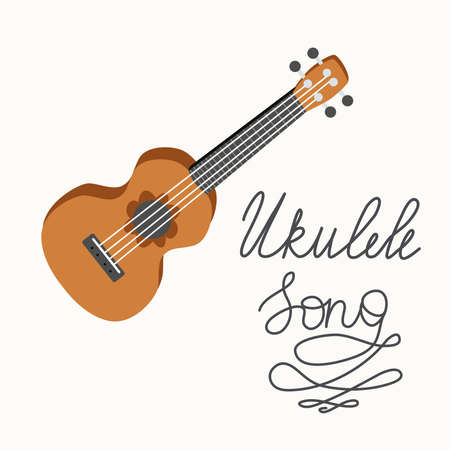 Cartoon ukulele with lettering text for summer, music poster template design. Small guitar with four-string guitar. hand drawn style. Ilustração