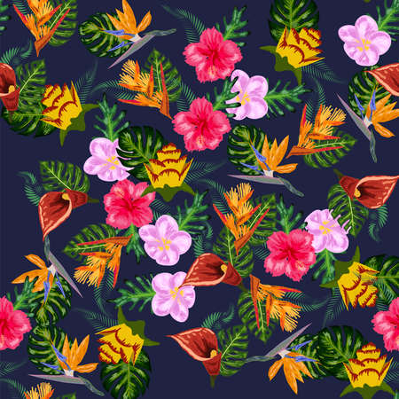 Seamless tropical pattern with palm, monstera leaves and many flowers of hibiscus, sterlitz, tropical.