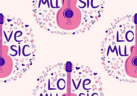 hand-drawn musical seamless pattern with the inscription Love music and country guitar, stars, notes, symbols, objects and elements