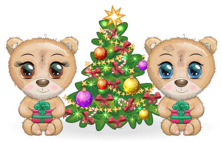 A pair of Cute cartoon teddy bear with big eyes and a Christmas present in paws near a Christmas tree. Merry Christmas and Happy New Year