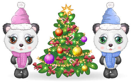 Couple of cute cartoon panda bear with big eyes in a scarf and hat near the Christmas tree, boy and girl, greeting card, New Year and Christmas Banco de Imagens