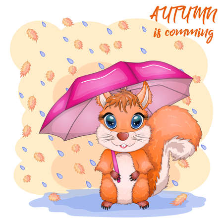 Cute cartoon squirrel with beautiful eyes with an umbrella, autumn concept, Autumn is coming inscription