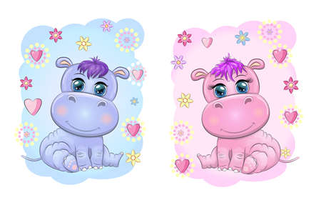 Two Cute cartoon hippo with beautiful eyes among flowers, hearts, a boy and a girl. baby shower invitation card Ilustração