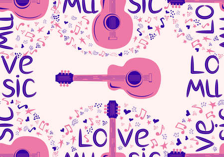 Colorful sketch drawing doodle seamless pattern of music culture with country guitar and text phrase Love Music.