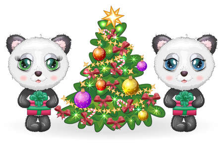 Couple Cute cartoon panda bear with big eyes with a gift near the Christmas tree, a boy and a girl, greeting card, New Year and Christmas Ilustração