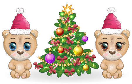 Couple Cute cartoon bear with big eyes in a Christmas hat near a decorated Christmas tree, a boy and a girl, greeting card, New Year and Christmas.