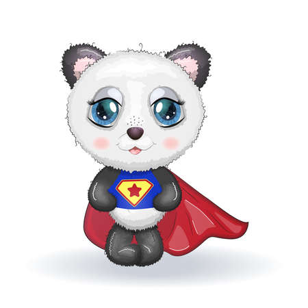 Cute little panda with big eyes in a cloak by a super hero, greeting card illustration, cute animals Ilustração