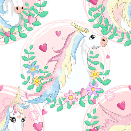 pattern with cute unicorns, clouds, rainbow and stars. Magic background with little unicorns.