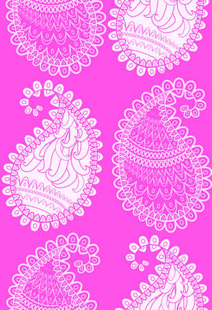 Seamless pink pattern of beautiful paisley cucumbers Turkish, Indian, Persian