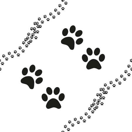 Animal footprint seamless pattern. Black and white seamless pattern with paw prints, animal footprint Ilustração
