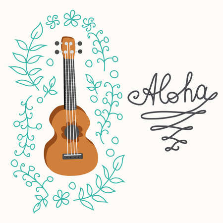 Ukulele and tropical leafs. four-string guitar hand drawn illustration. Aloha surfing lettering.