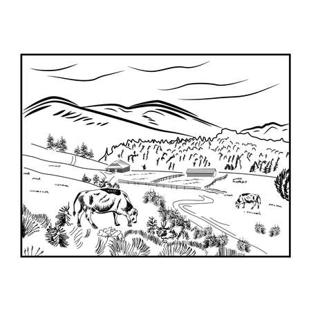 Black sketch cow farm landscape poster with cow grazing in a meadow next to mountains.