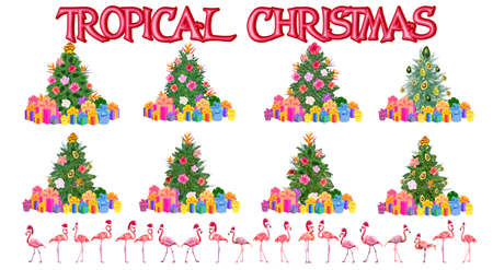 Set of christmas tree made of tropical leaves monstera, avocado, flamingos in Santa Claus hats, gifts under the Christmas tree, fireworks. New Year celebration concept, banner, postcard, creative
