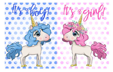 Baby Shower Greeting Card with cute Cartoon Unicorn girl and boy. Ilustração